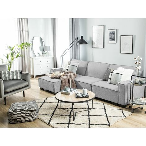 Right Hand Fabric Corner Sofa Bed Light Grey ROMEDAL
