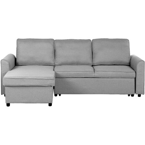 Right Hand Fabric Corner Sofa Bed with Storage Grey NESNA