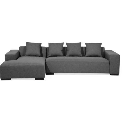 Right Hand Fabric Corner Sofa Dark Grey LUNGO