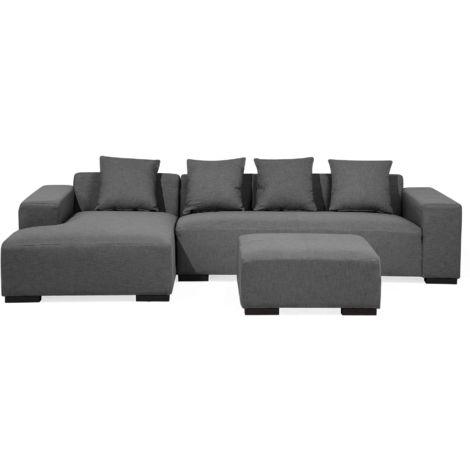 Right Hand Fabric Corner Sofa with Ottoman Dark Grey LUNGO