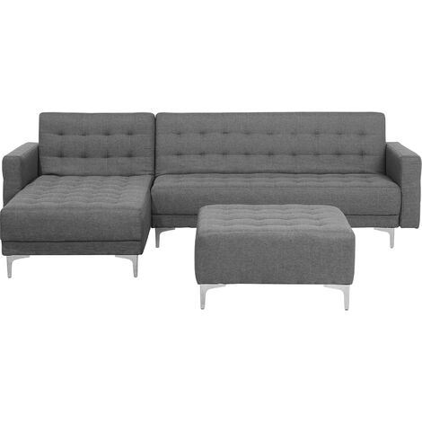 Right Hand Fabric Corner Sofa with Ottoman Grey ABERDEEN