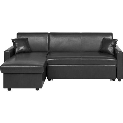 Right Hand Faux Leather Corner Sofa Bed with Storage Black OGNA