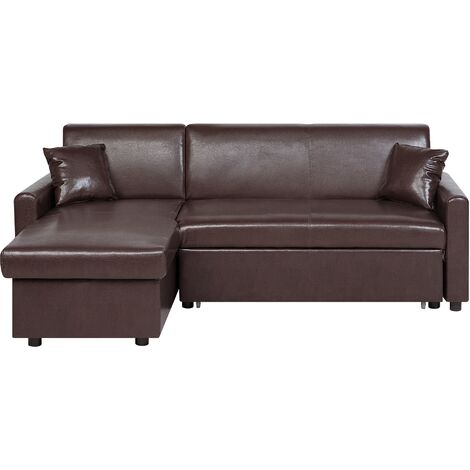 Right Hand Faux Leather Corner Sofa Bed with Storage Dark Brown OGNA