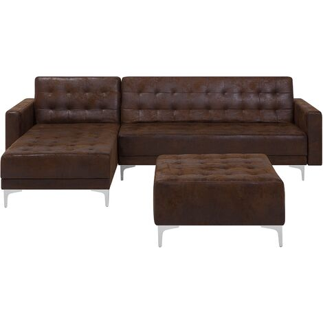Right Hand Faux Leather Corner Sofa with Ottoman Brown ABERDEEN
