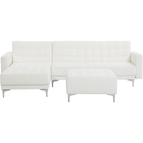 Right Hand Faux Leather Corner Sofa with Ottoman White ABERDEEN