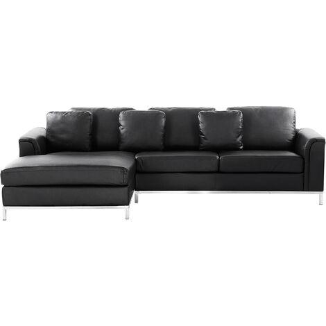 Right Hand Leather Corner Sofa Black OSLO