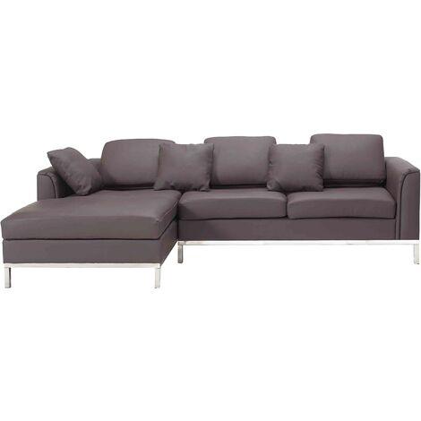 Right Hand Leather Corner Sofa Brown OSLO