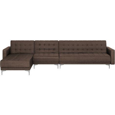 Right Hand Modular Fabric Sofa Brown ABERDEEN