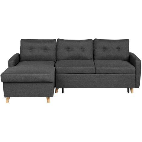 Right Hand Upholstered Tufted Corner Sofa Bed with Storage Dark Grey Flakk