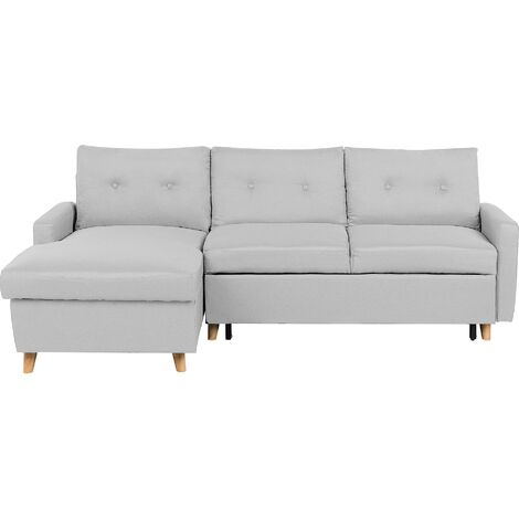 Right Hand Upholstered Tufted Corner Sofa Bed with Storage Light Grey Flakk