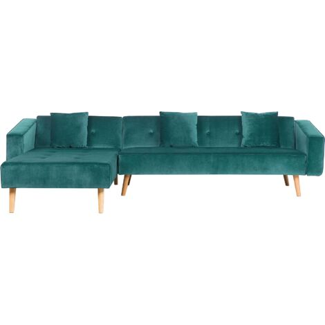 Right Hand Velvet Corner Sofa Bed Green VADSO