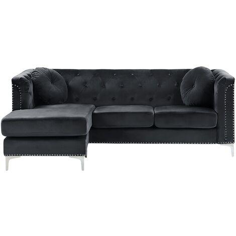 Right Hand Velvet Corner Sofa Black FLEN
