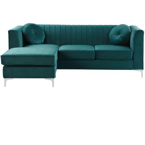 Right Hand Velvet Corner Sofa Green Additional Pillows Glamour Timra