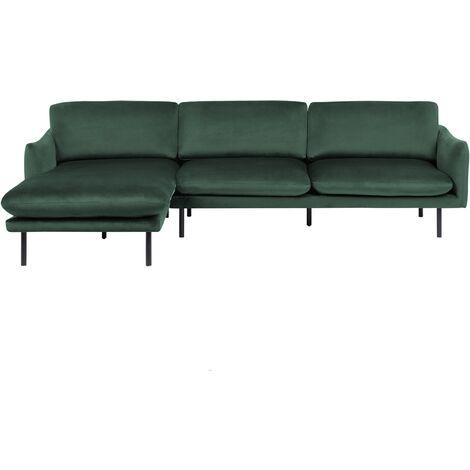 Right Hand Velvet Corner Sofa Green VINTERBRO