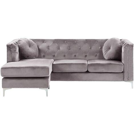 Right Hand Velvet Corner Sofa Grey Additional Pillows Tufted Nailhead Trims Flen