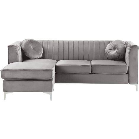 Right Hand Velvet Corner Sofa Grey TIMRA