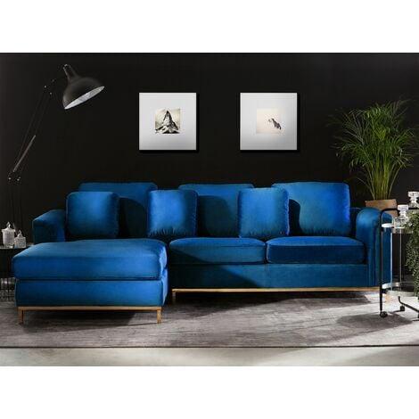 Right Hand Velvet Corner Sofa Navy Blue OSLO