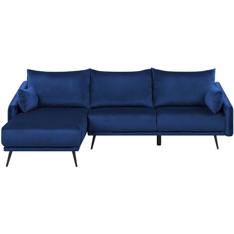 Right Hand Velvet Corner Sofa Navy Blue VARDE