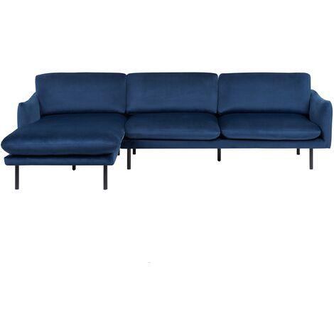 Right Hand Velvet Corner Sofa Navy Blue VINTERBRO