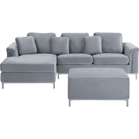 Right Hand Velvet Corner Sofa with Ottoman Light Grey OSLO