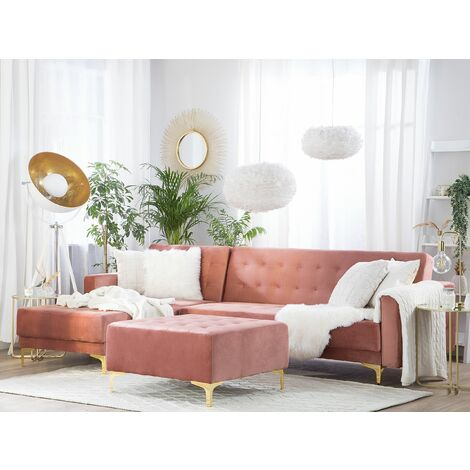 Right Hand Velvet Corner Sofa with Ottoman Pink ABERDEEN