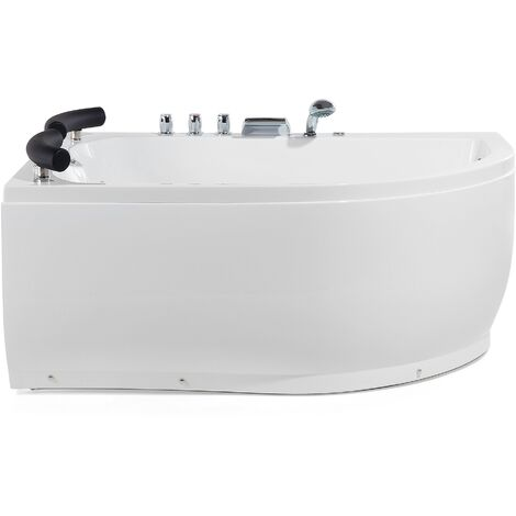 Right Hand Whirlpool Corner Bath with LED White PARADISO