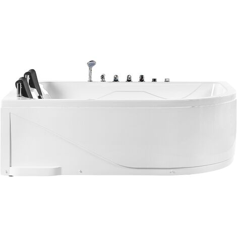 Right Hand Whirlpool Corner Bath with LED White PEALITA