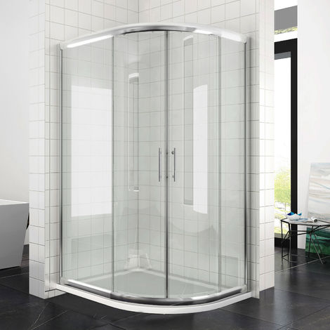 Right Quadrant Shower Enclosure 900 x 760 mm Sliding Glass Cubicle Door with Tray + Waste