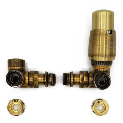 Right Version with Copper (Cu) Connectors Antique Brass Thermostatic + Lockshield Angled Valve Set Double-Pipe Radiator