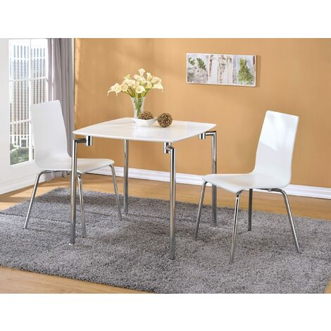 Rigma Small Square Dining Kitchen Table With Two Chairs White Gloss Finish White