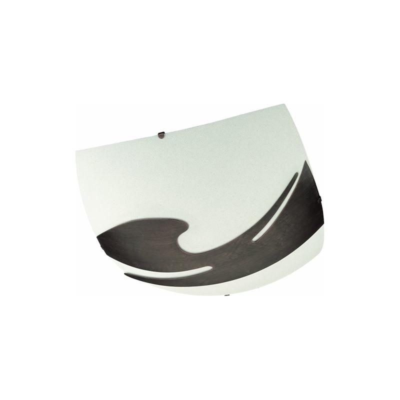 Massive - RIHANNA RIHANNA - Plafoniera - Quadrata vetro bianco con decoro rame - 42 cm