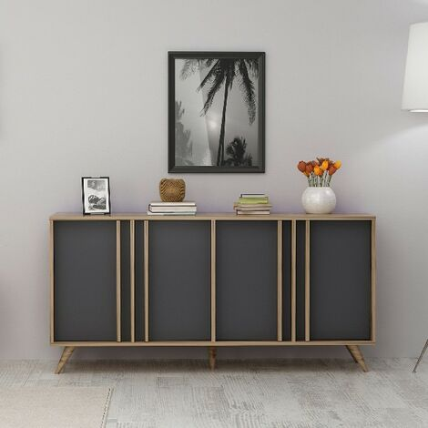 Rilla Console Table - with Doors - for Living Room, Hall - Walnut, Anthracite, made in Wood, 160 x 40 x 79 cm