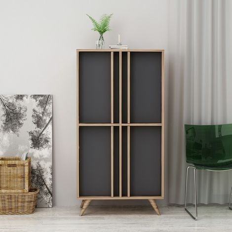 Rilla Cupboard - with Doors - for Living Room, Hall - Walnut, Anthracite, made in Wood, 72 x 35 x 139 cm