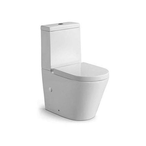 Rimless Close Coupled Modern Toilet - With Soft Close Seat (Fully Back To Wall)
