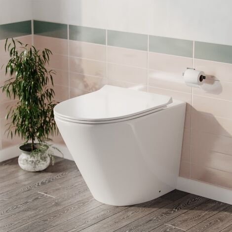 Rimless Round Back To Wall Pan with Soft Close Toilet Seat