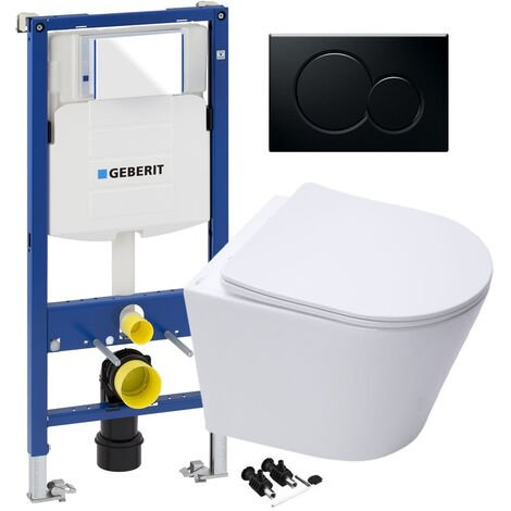"""main image of """"Rimless Wall Hung Toilet & GEBERIT Duofix 1.12m WC Concealed Cistern Frame - Gloss Black Flush Plate"""""""