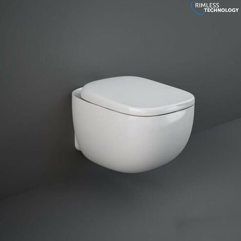 Rimless Wall Hung Toilet Pan RAK Ceramics Illusion Soft Close Toilet Seat WC