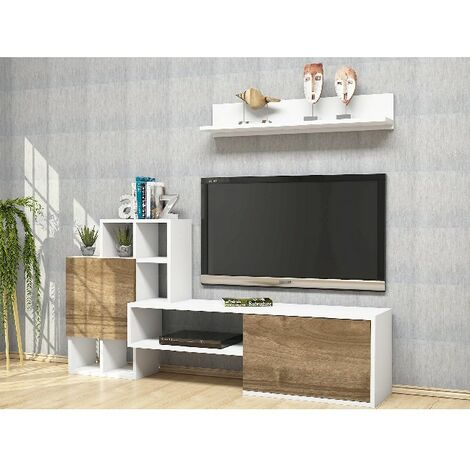Rinaldo TV Stand - with Doors, Shelves - for Living Room - White, Walnut, made in Wood, 160 x 30 x 78,2 cm