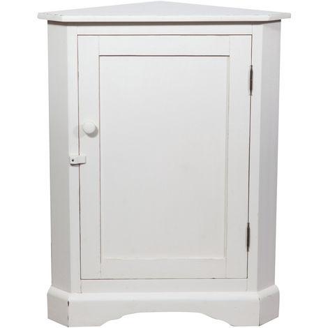 Rinconera de estilo Country de madera maciza de tilo acabado con efecto blanco envejecidol 50x50x92 cm