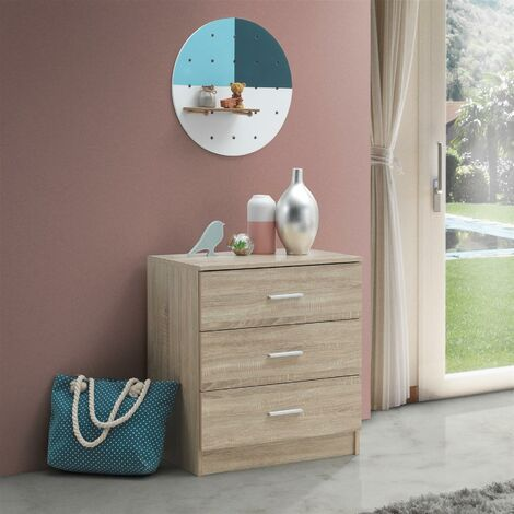 Rio Costa Chest 3 Drawers Bedroom Living Room Storage Sonoma Oak