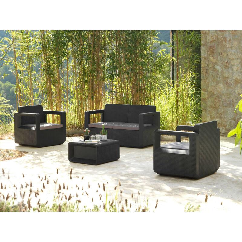 Rio - Salon bas de jardin 4 places - en résine tressée injectée - noir avec coussins gris Couleur - Noir - Noir / Gris