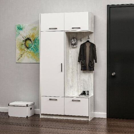 Rion Hall Unit - Closet, Coat Rack - with Doors, Shelves - White, made in Wood, 93 x 30 x 188 cm