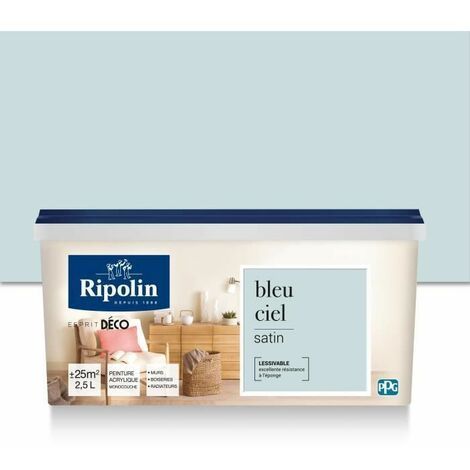 RIPOLIN PEINTURE MURALE TOUTES PIECES, RIPOLIN - BLEU CIEL SATIN, 2,5L