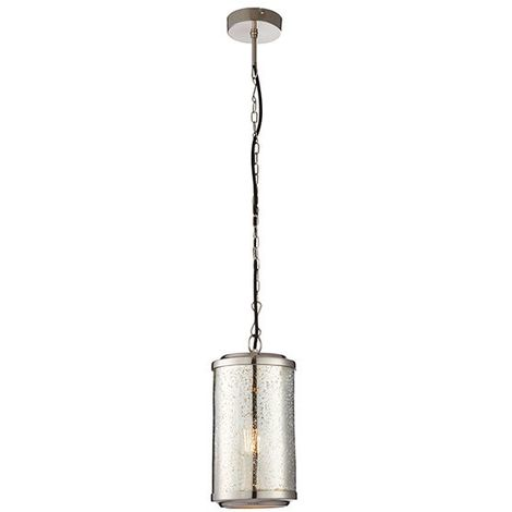 Risley Bright Nickel Plate And Mercury Glass 1Lt Ceiling Pendant Light 15W