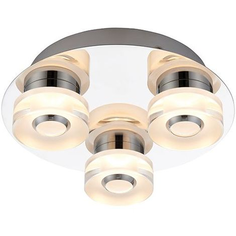 Rita 3Lt Flush Fitting Chrome Effect Plate & Frosted Acrylic IP44 4.5W & 0.45W