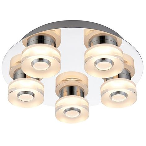 Rita 5 Light Flush Fitting Chrome Effect Plate & Frosted Acrylic IP44 4.5W