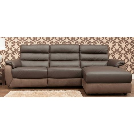 Ritz Corner Leather And Fabric Sofa Available In Brown RH