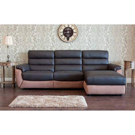 Ritz Corner Leather And Fabric Sofa Available In Espresso RH