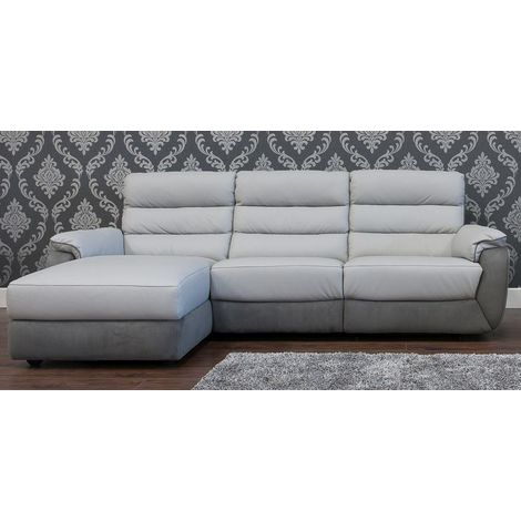 Ritz Corner Leather And Fabric Sofa Available In Grey LH