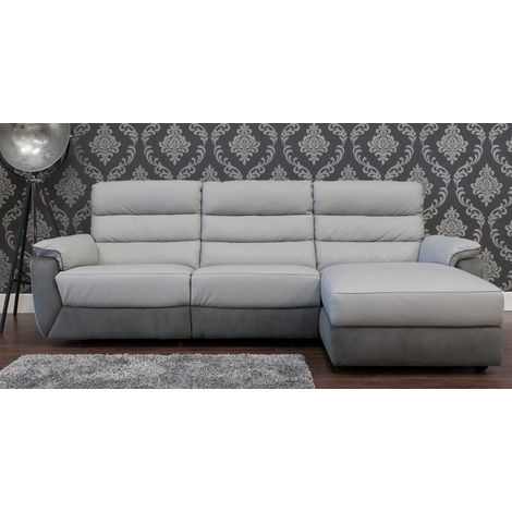 Ritz Corner Leather And Fabric Sofa Available In Grey RH
